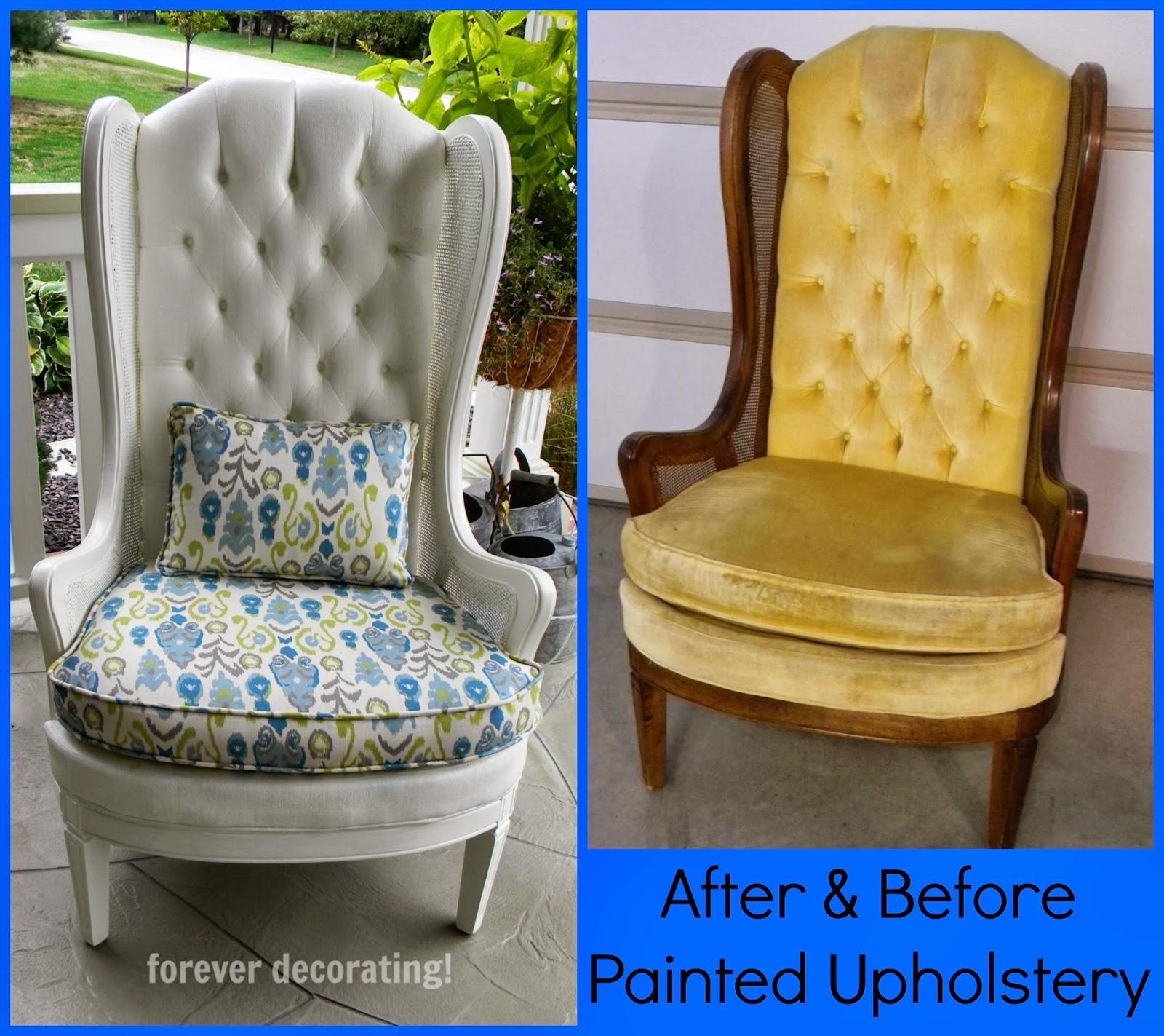 can i spray paint my leather sofa chenille sectional with chaise forever decorating charming painted upholstered chair