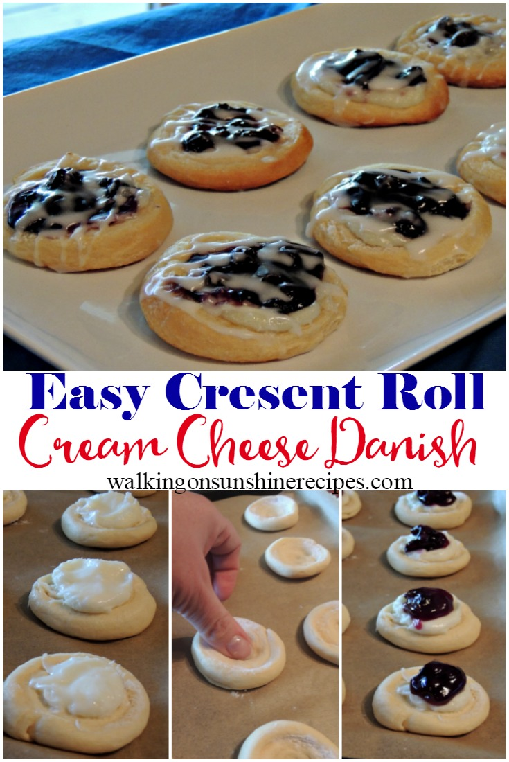 Blueberry Cream Cheese Danish is an easy recipe to make for breakfast this weekend from Walking on Sunshine Recipes.  Grab a can of refrigerated crescent rolls and let's get baking!