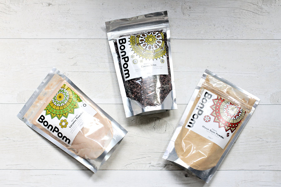 BonPom Lucuma Powder, Cacao Nibs & Maca Powder