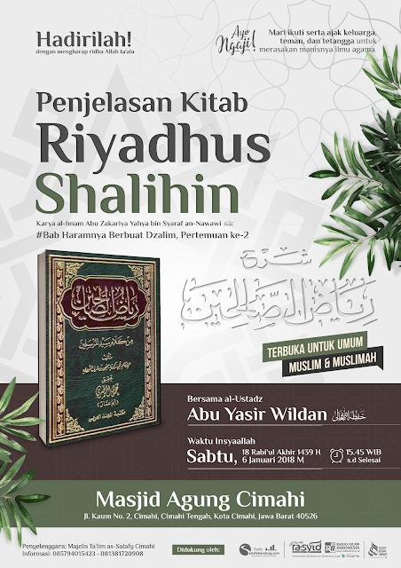 Kajian Masjid Agung Cimahi: Haramnya Berbuat Dzalim Pertemuan ke-2 (Kitab Riyadhus Shalihin)