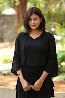 Actress Hebah Patel Stills in Black Mini Dress at Angel Movie Teaser Launch  0004.JPG