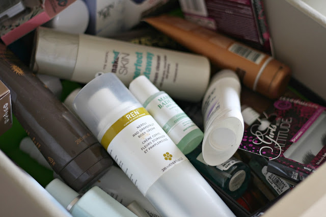 beauty product drawer