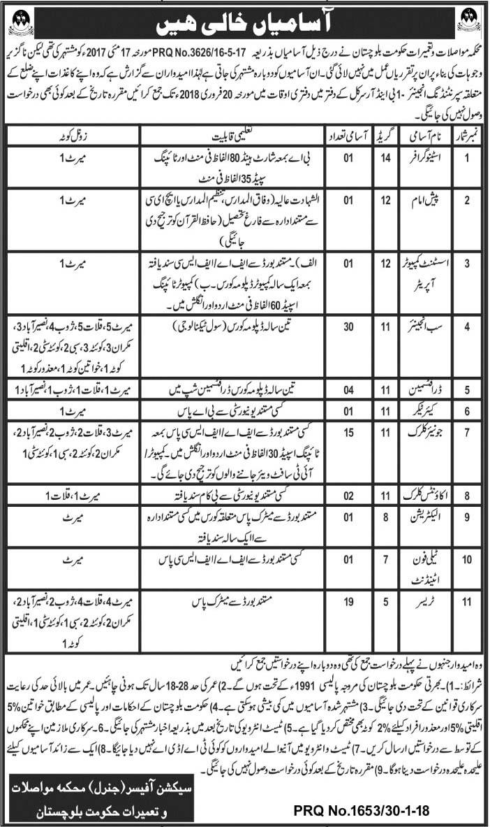 Jobs In Govt Of Balochistan Quetta February 2018