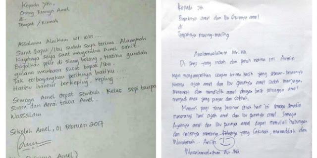 VIRAL MEDSOS : Inilah Balasan Surat Ayah Amel Dari Gurunya Amel, Ternyata isinya Mengejutkan