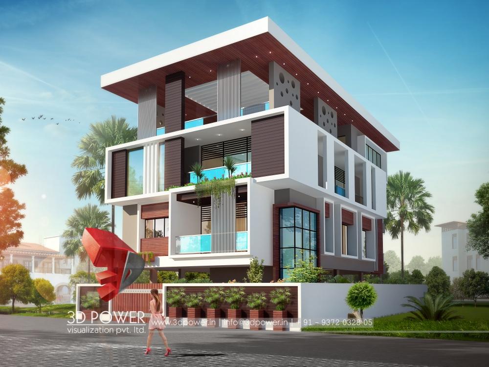 3d animation 3d rendering 3d walkthrough 3d interior for Modern bungalow elevation