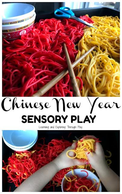Chinese New Year Sensory Spaghetti #chinesenewyear #CNY #sensoryplay #CNYsensoryplay