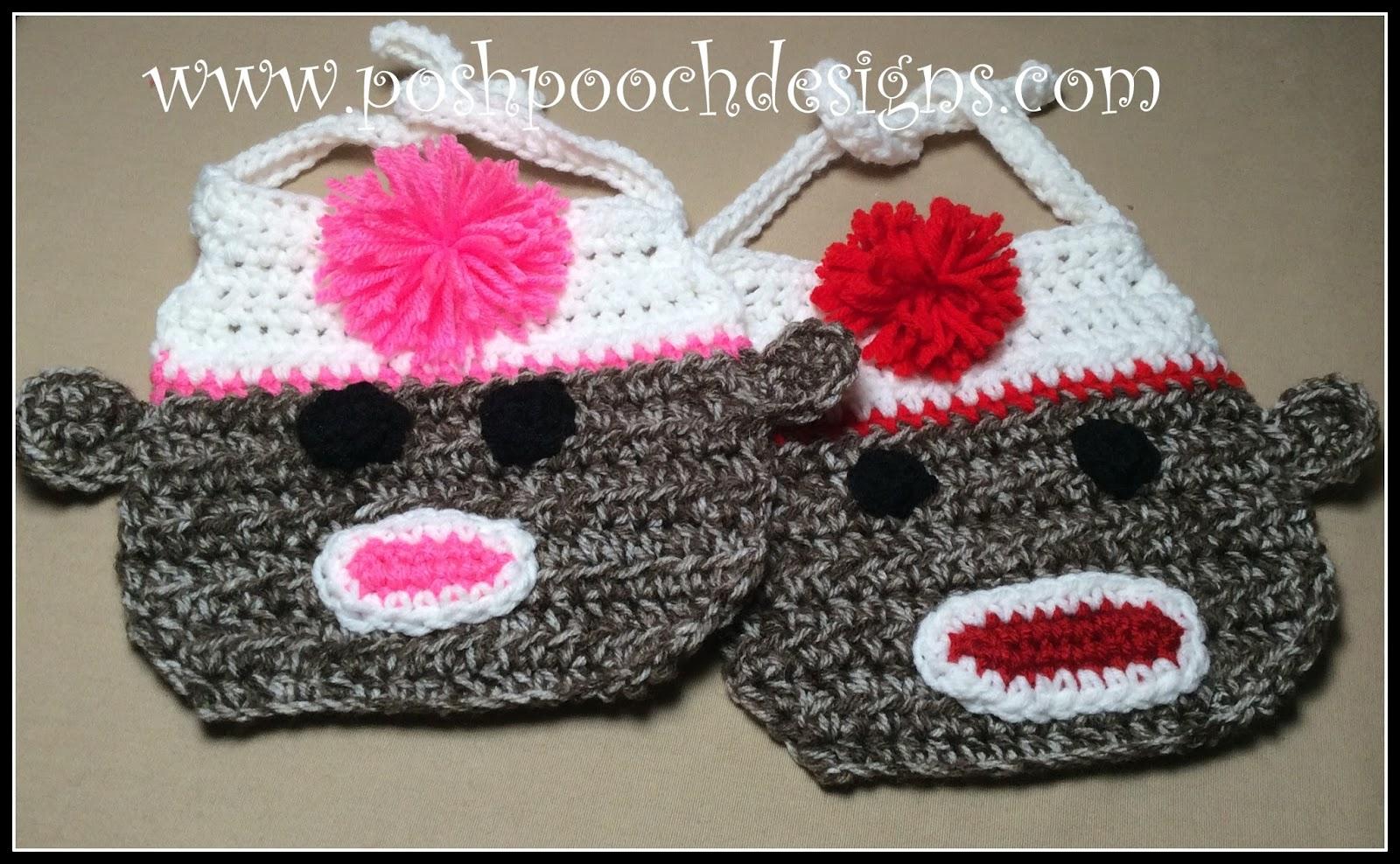 Posh Pooch Designs Dog Clothes: Sock Monkey Baby Bib Crochet Pattern ...