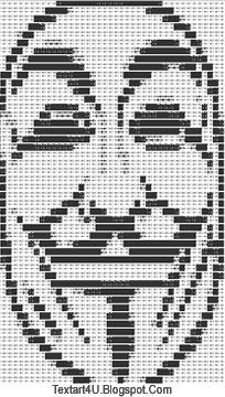 Guy Fawkes Mask ASCII Text Art | Cool ASCII Text Art 4 U