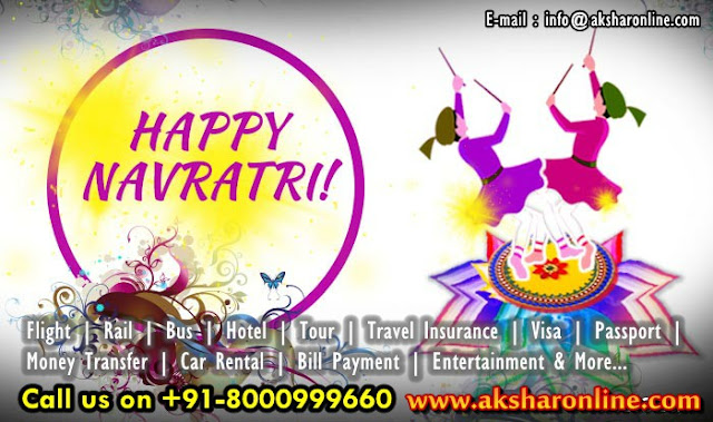 Happy Navratri - Navratri Tour Operator, Navratri Offers, Ticket Booking, Travel Booking, Air Ticket Booking, hotel booking, tour packages, tour agent in ahmedabad, travel agent in ghatlodia, cheap air ticket booking, aksharonline.com, akshar infocom, Hotel Booking, Railway Ticket Agent in Ahmedabad, Bus Ticket Booking, Money Transfer Services