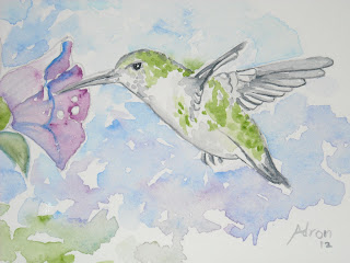 An example from the lesson on how to draw a humming bird.