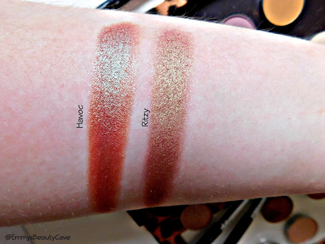 Makeup Geek Duo Chrome Eye Shadow Ritzy and Havoc Swatches
