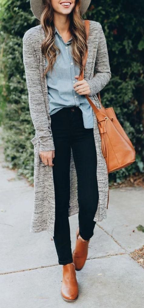 HOW TO STYLE A CARDIGAN : hat + denim shirt + bag + skinnies + boots