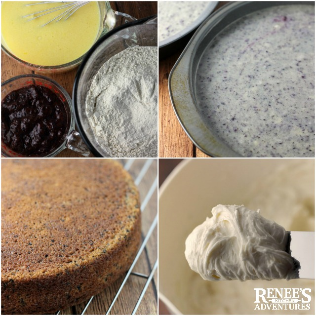 Ingredients and baking photos for Fresh Blueberry Cake a recipe from Cake Magic! from Caroline Wright