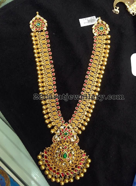 Antique Long Chain with Red Kundan