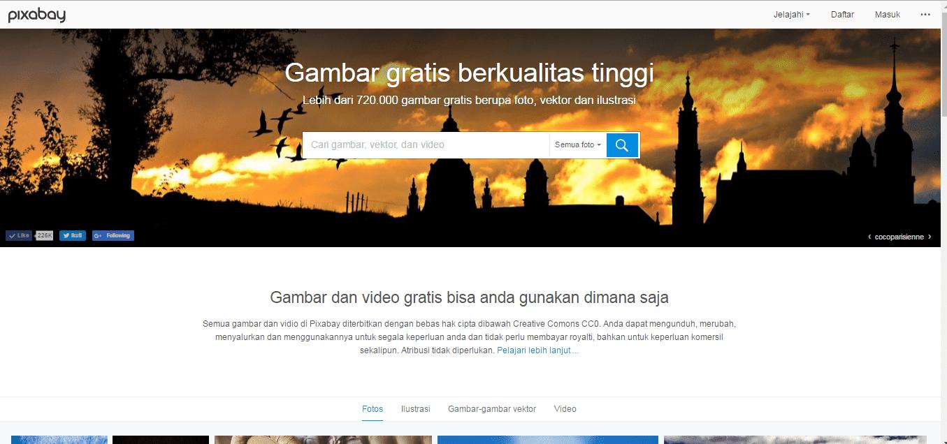 Tampilan halaman muka situs pixabay