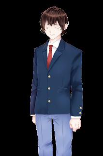 目を閉じている紺色のブレザー制服の学生の立ち絵フリー素材