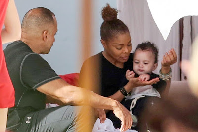 Janet Jackson pictured feeding her baby son Eissa in Miami Beach, Florida