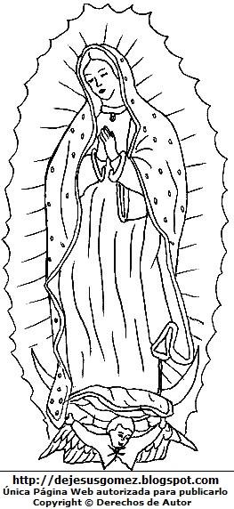 Imagen de la Virgen de Guadalupe o Nuestra Señora de Guadalupe parada para colorear pintar imprimir. Dibujo de la Virgen de Guadalupe hecho por Jesus Gómez