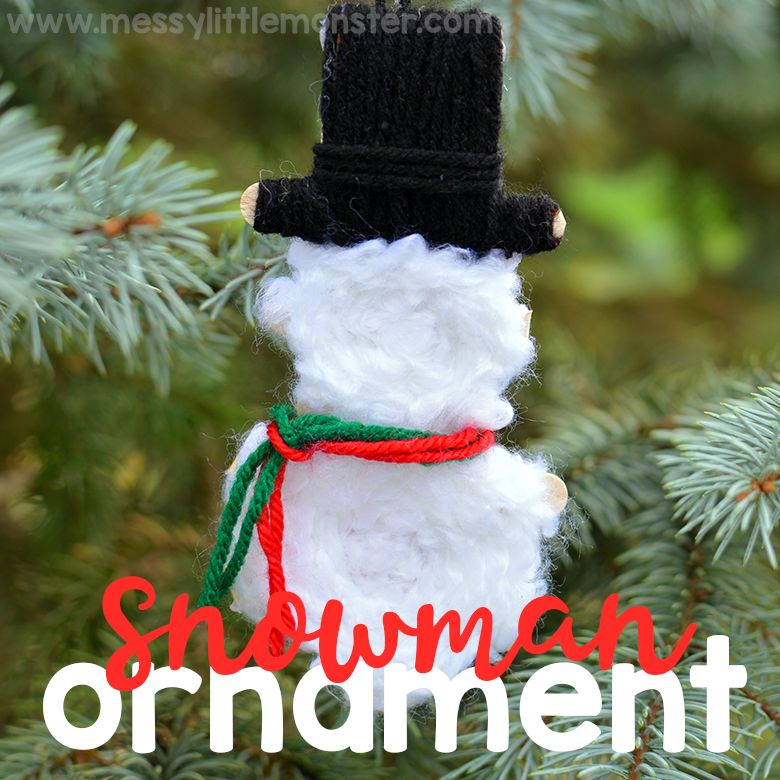 Yarn Wrapped Snowman Ornaments. Snowman craft for kids.