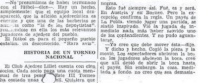 Crónica de Fernando Isaac Fernández en el diario Madrid sobre el III Torneo Nacional de Ajedrez de La Pobla de Lillet 1957 (4)