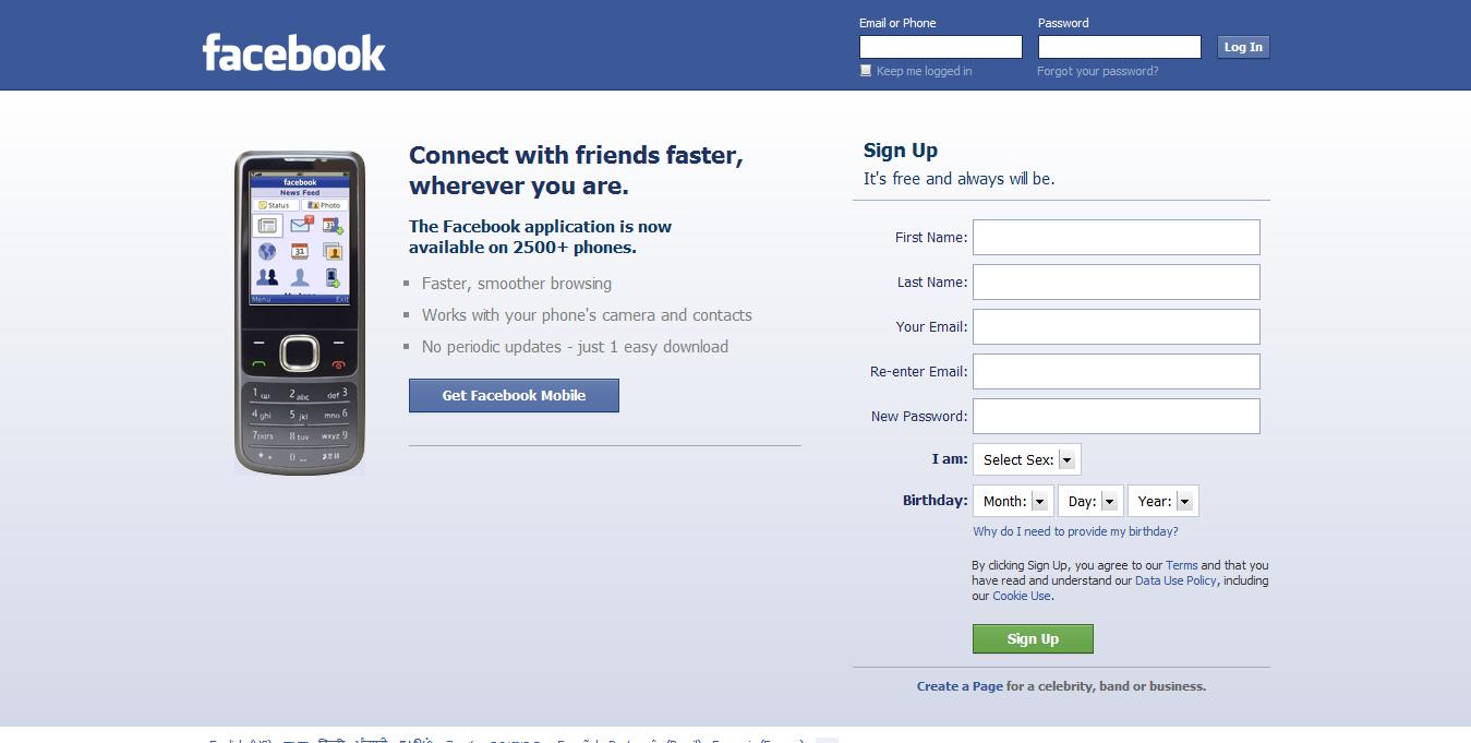 Facebook Log In Sign Up