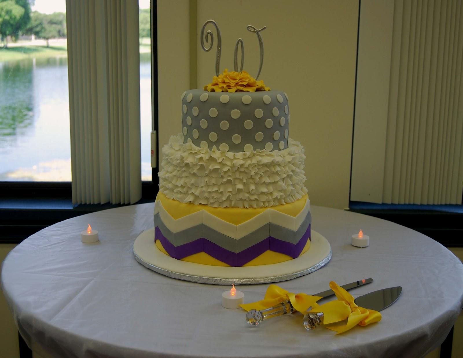 Leelees Cake-abilities: Grey and Yellow Wedding Cake