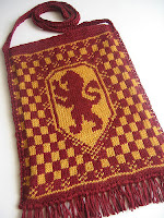 Lovely knitting pattern with intarsia design and charts for all four Hogwarts houses.