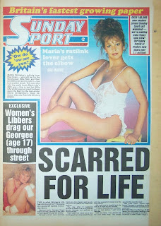 Front page of a vintage Sunday Sport newspaper with photo of Maria Whittaker from 22-2-87