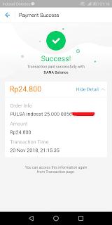 notifikasi transaksi pembayaran beserta detilnya