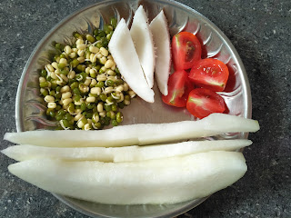 Sun cooked breakfast (Salad) - Ash gourd, Green gram sprouts, Tomato, Coconut
