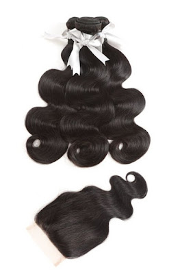 3 BUNDLES VIRGIN BODY WAVE WITH 4X4 LACE CLOSURE-NATURAL COLOR