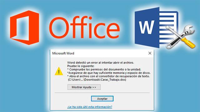 Word detectó un error al intentar abrir el archivo