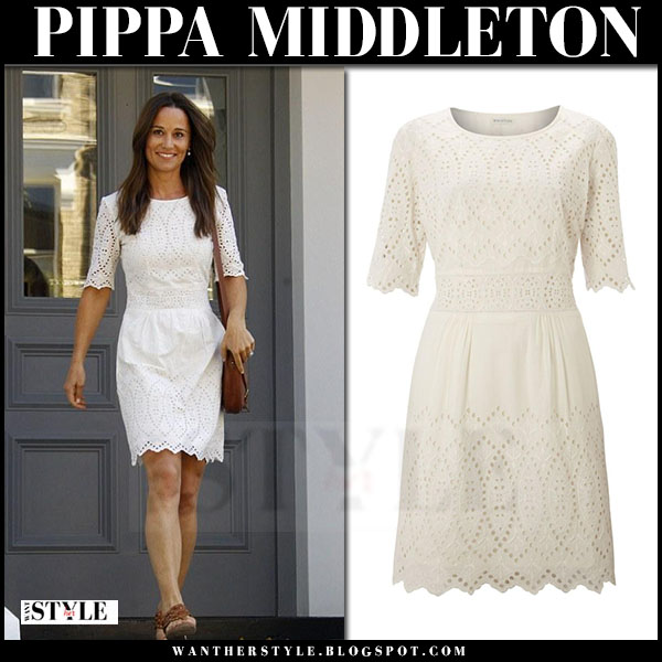 Pippa Middleton in white embroidered mini dress whistles lisa what she wore