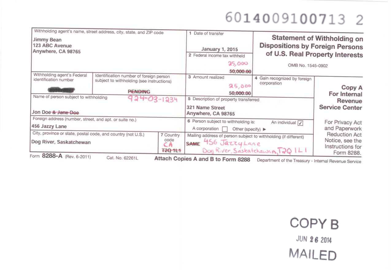 sample-8288-a-copy-b  Nr Form Filled Out Example on 1040ez tax,