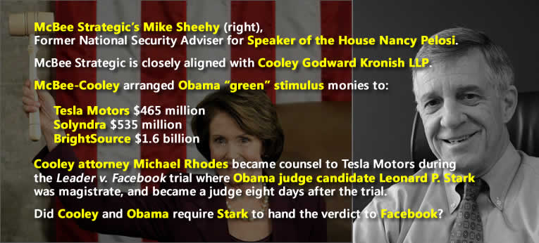 McBee Strategic, Cooley Godward LLP, Michael Rhodes, Nancy Pelosi, Obama, Mike Sheehy collusion