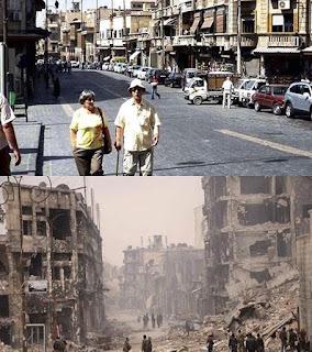 シリア、アレッポ今と昔の写真