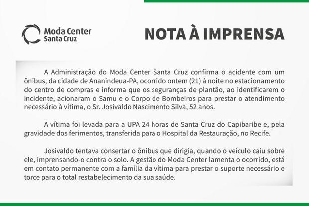 Nota do Moda Center Santa Cruz sobre acidente com ônibus no estacionamento do centro de compras