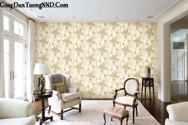 Giấy dán tường cho phòng khách có phong cách cổ điển