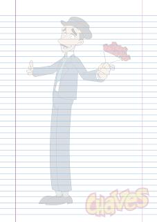 Folha Papel Pautado Professor Girafales desenho Chaves em PDF para imprimir folha A4