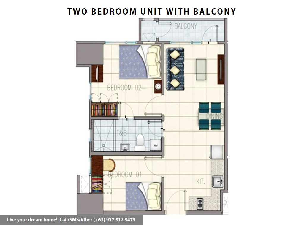 Floor Plan of SMDC Grass Residences - 2 Bedroom With Balcony | Condominium for Sale Quezon City