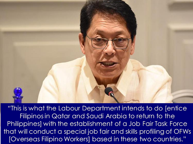 Due to lack of decent job with adequate salary in the Philippines, its citizens resort to applying for jobs abroad, adding numbers to estimated 10 million Overseas Filipino Workers (OFWs) scattered throughout the globe. And how would they manage to pay their loans and mortgages if their earnings barely meet their daily needs? Some people even if they had the luck of finding local jobs still apply for overseas job because their salary is simply not enough to cover their financial needs.  As President Rodrigo Duterte's promise to end the generation of OFWs, government efforts in generating job opportunities and skills training for entrepreneurship might hopefully entice OFWs to come back home for good.  Advertisement       Sponsored Links       Mary was an executive secretary back in the Philippines. Because her salary was not enough to support her kids. Mary is a single parent. As a result she applied to be a domestic worker in Hong Kong in 1985 in search for a better income. that's where she experienced homesickness. Not a single day that she sit on the table to dine, that her tears won't flow out of a great longing for her children. It made even worse when her boss told her that she cannot go home for two years as stated in her contract. Her daily work begin as early as 6AM. It is too difficult for her to find strength in the midst of such situation but Mary managed herself to be strong.    Mary's story is not so different from millions of overseas Filipino workers deployed throughout the world in quest for the best possible future that they can give to their families back home.  Some professionals do not care about their career to be downgraded — teachers becoming nannys and maid, doctors working as nurses and nurses serving as caregivers, etc...  President Rodrigo Duterte's aim is to end the generation of OFWs with the help of DOLE, POEA, OWWA, and other concerned government agencies.    DOLE Secretary Silvestre Bello III reiterated that in line with the presiden