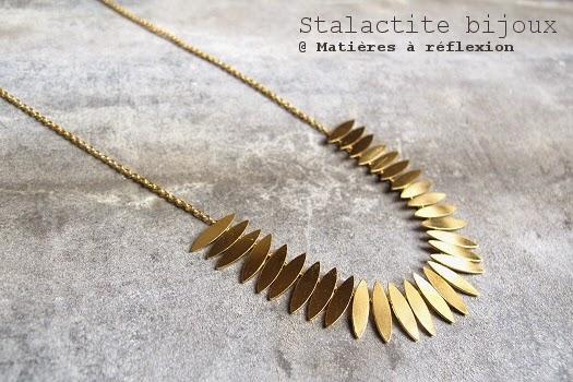 Collier feuilles Stalactite bijoux plaqué or