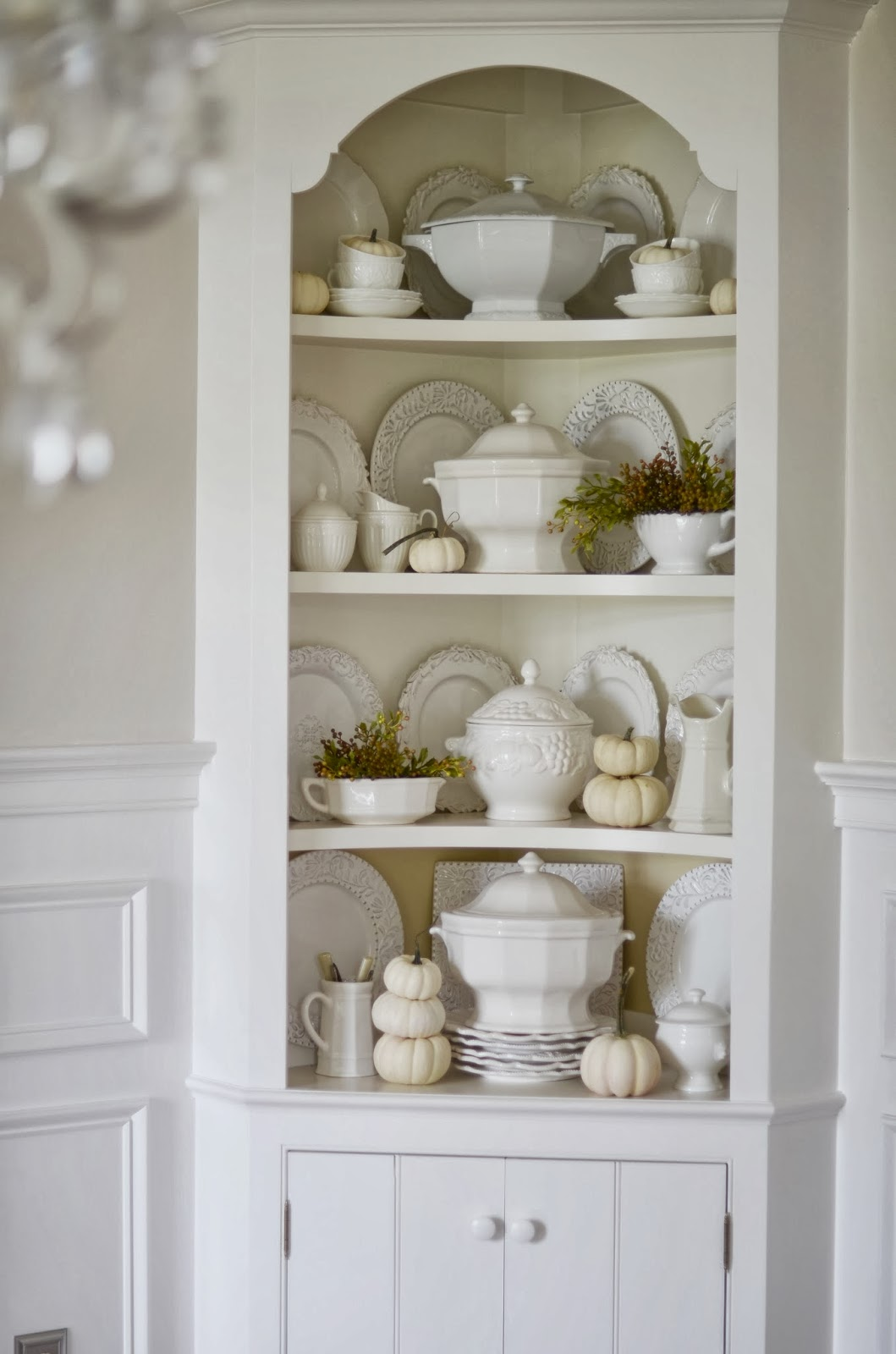 Fall hutch white pumpkins and soup tureens stonegable for Hutch decor