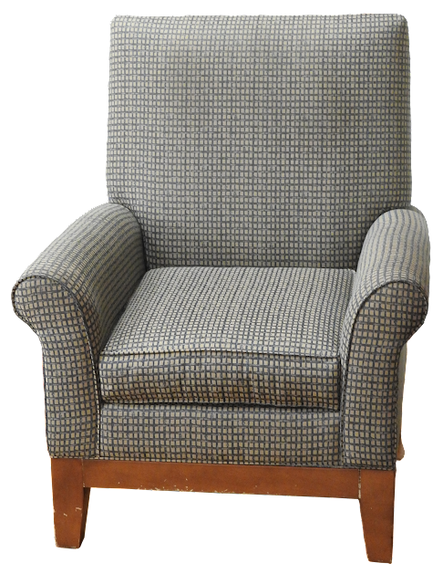 A simple arm chair with checked upholstery and a straight back. This one has wooden legs, and a few usage nicks.