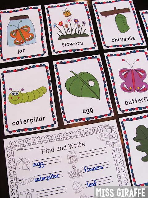 Life Cycle of a Butterfly science center that is fun and easy – simply put the picture cards around your classroom and let students find and write their new science vocabulary words
