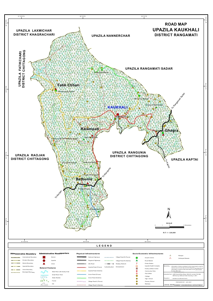 Kawkhali Upazila Road Map Rangamati District Bangladesh