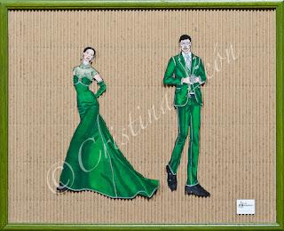 Ilustración pareja verde y plata. Tamaño marco 52X42