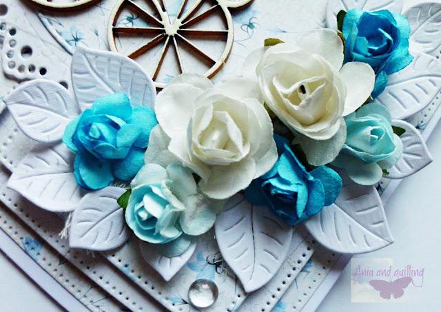 ozdoba kartki -papierowe kwiaty