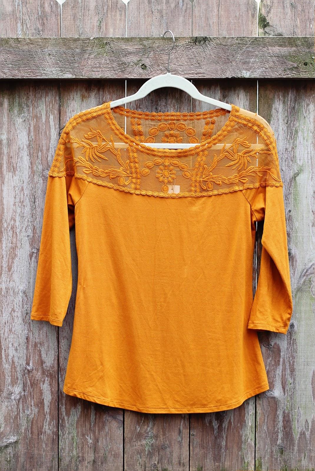 62f3ca0967f868 Stitch Fix Daniel Rainn Bethanie Lace Yoke Knit Top mustard yellow
