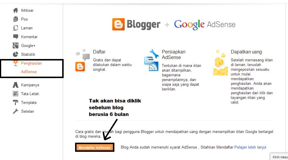 Cara menampilkan menu penghasilan adsense yang tidak nampak di blog
